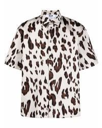 weißes Kurzarmhemd mit Leopardenmuster von MSGM