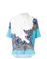 weißes Kurzarmhemd mit Paisley-Muster von Etro