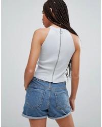 weißes kurzes Oberteil aus Jeans von Noisy May