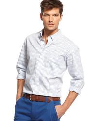 weißes Langarmhemd mit Vichy-Muster