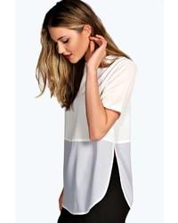 weißes Langarmshirt aus Netzstoff