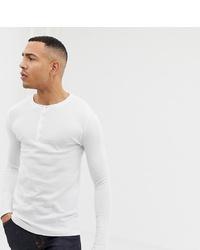 weißes Langarmshirt mit einer Knopfleiste von ASOS DESIGN