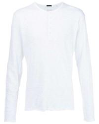 weißes Langarmshirt mit einer Knopfleiste von ATM Anthony Thomas Melillo