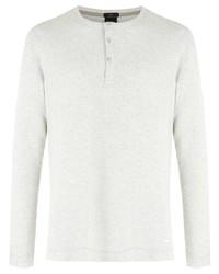 weißes Langarmshirt mit einer Knopfleiste von BOSS