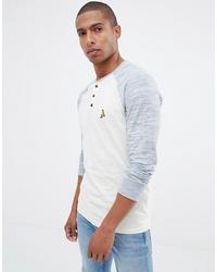 weißes Langarmshirt mit einer Knopfleiste von Brave Soul