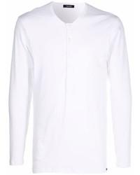 weißes Langarmshirt mit einer Knopfleiste von Tom Ford