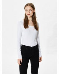 weißes Langarmshirt von Selected Femme