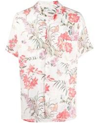 weißes Leinen Kurzarmhemd mit Blumenmuster von Etro