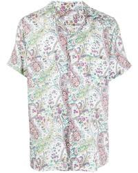 weißes Leinen Kurzarmhemd mit Paisley-Muster von Etro