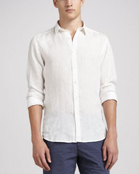 weißes Leinen Langarmhemd