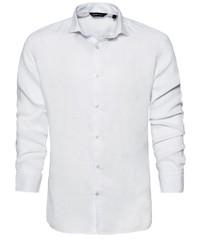 weißes Leinen Langarmhemd von CODE-ZERO