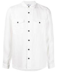 weißes Leinen Langarmhemd von Stone Island