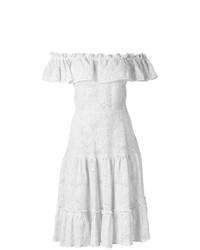 weißes Leinen schulterfreies Kleid von Isolda