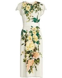 weißes Midikleid mit Blumenmuster