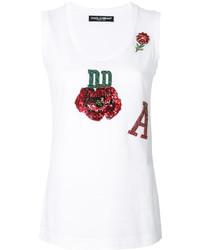 weißes Pailletten Trägershirt von Dolce & Gabbana