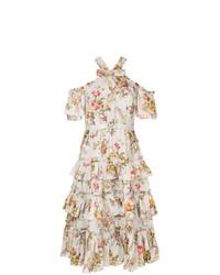 weißes schulterfreies Kleid mit Blumenmuster von Needle & Thread