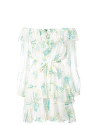 weißes schulterfreies Kleid mit Blumenmuster von Zimmermann