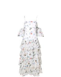 weißes schulterfreies Kleid mit Rüschen von Vivetta