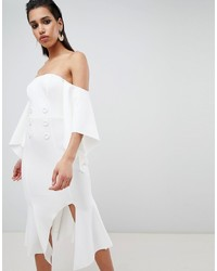 weißes schulterfreies Kleid von ASOS DESIGN