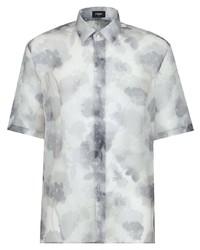 weißes Seide Kurzarmhemd mit Blumenmuster von Fendi