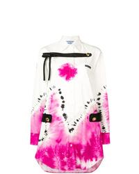 weißes Mit Batikmuster Shirtkleid von Prada