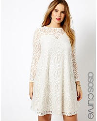 weißes Spitze schwingendes Kleid von Asos Curve