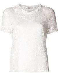 weißes Spitze T-Shirt mit einem Rundhalsausschnitt