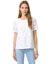 weißes Spitze T-Shirt mit einem Rundhalsausschnitt von AG Jeans