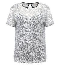 weißes Spitze T-Shirt mit einem Rundhalsausschnitt mit Blumenmuster von Michael Kors
