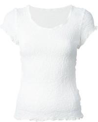 weißes Strick T-Shirt mit einem Rundhalsausschnitt von Issey Miyake