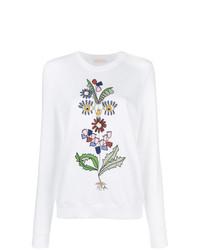 weißes Sweatshirt mit Blumenmuster von Tory Burch
