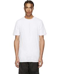 weißes T-Shirt mit einem Rundhalsausschnitt aus Netzstoff