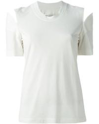 weißes T-Shirt mit einem Rundhalsausschnitt mit Ausschnitten