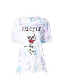 weißes Mit Batikmuster T-Shirt mit einem Rundhalsausschnitt von Alchemist