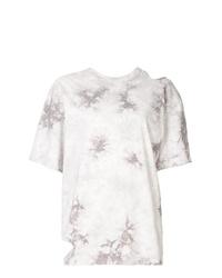 weißes Mit Batikmuster T-Shirt mit einem Rundhalsausschnitt von Le Ciel Bleu