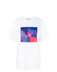 weißes Mit Batikmuster T-Shirt mit einem Rundhalsausschnitt von MSGM