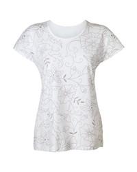 weißes T-Shirt mit einem Rundhalsausschnitt mit Blumenmuster von CLASSIC BASICS