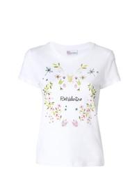 weißes T-Shirt mit einem Rundhalsausschnitt mit Blumenmuster von RED Valentino