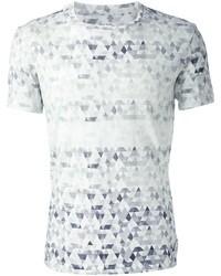 weißes T-Shirt mit einem Rundhalsausschnitt mit geometrischen Mustern