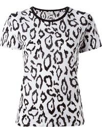 weißes T-Shirt mit einem Rundhalsausschnitt mit Leopardenmuster