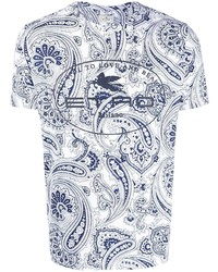 weißes T-Shirt mit einem Rundhalsausschnitt mit Paisley-Muster von Etro