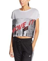 weißes T-Shirt mit einem Rundhalsausschnitt von adidas