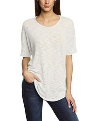 weißes T-Shirt mit einem Rundhalsausschnitt von B.young