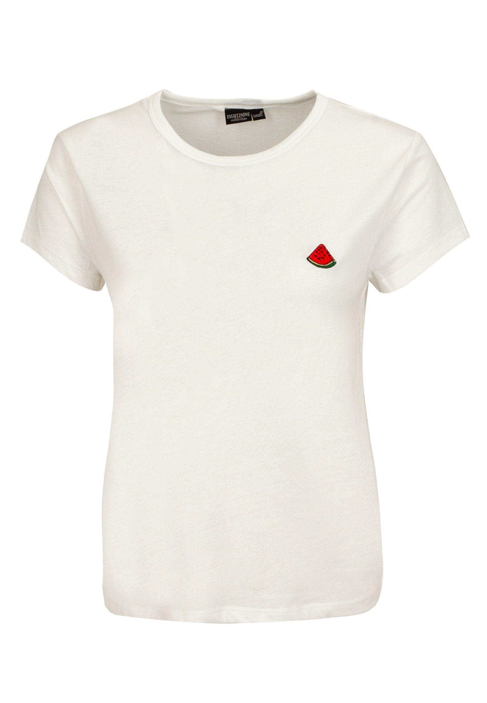 weißes T-Shirt mit einem Rundhalsausschnitt von Eight2Nine