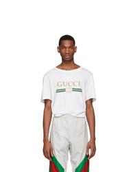 weißes T-Shirt mit einem Rundhalsausschnitt von Gucci