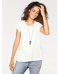 weißes T-Shirt mit einem Rundhalsausschnitt von LINEA TESINI by Heine
