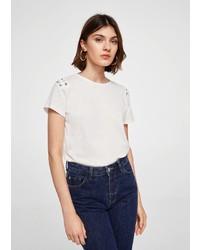 weißes T-Shirt mit einem Rundhalsausschnitt von Mango