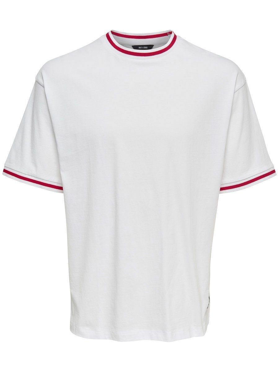 weißes T-Shirt mit einem Rundhalsausschnitt von ONLY & SONS