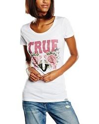 weißes T-Shirt mit einem Rundhalsausschnitt von True Religion