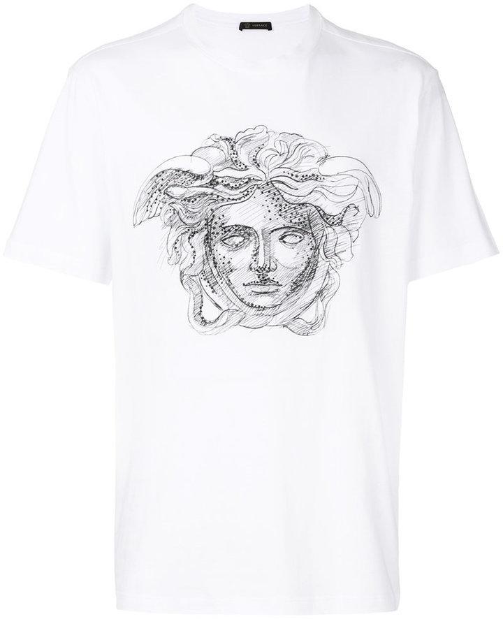 weißes T-Shirt mit einem Rundhalsausschnitt von Versace